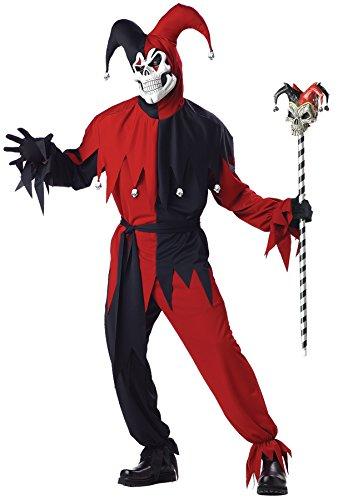 California Costumes - Disfraz De Bufón Malvado / Joker Rojo Negro Vestido Para Hombre Talla S