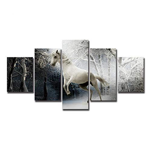 DAIZHJ Witte Paard Canvas Schilderijen Hardlopen in het besneeuwde bos Muur Dierlijke kunst Foto's Voor Woonkamer 5 stks Decoratieve Canvas poster