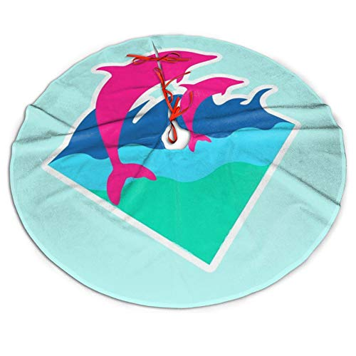 MSACRH Tree Skirt Pink-Dolphin Trees Mat Ritual Xmas Ornaments Ceremony Party Supplies for Garden Christmas Decoration 48 Inch