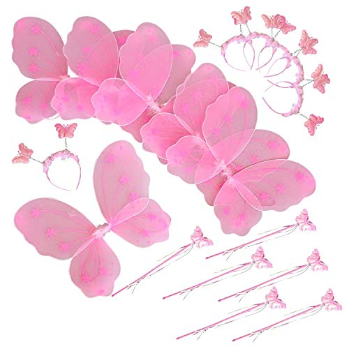 Butterfly Craze Girls' Fairy Wings with Wands and Headbands – Costumes and Dress Up for Kids Aged 2 to 12 – Pack of 6 (Pink)