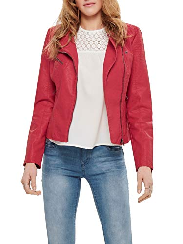 Only Onlflora Faux Leather Biker CC Otw Giacca in Jeans, Rosso (High Risk Red), 42 (Taglia Produttore: 36) Donna