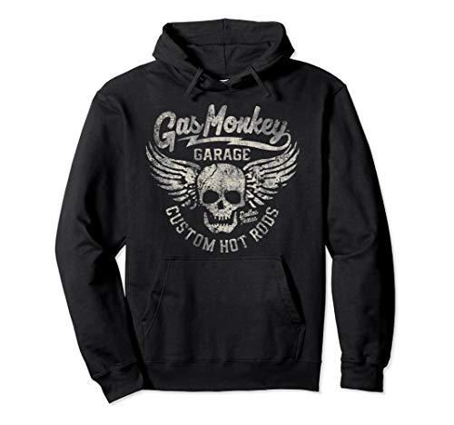 Gas Monkey Garage Skull And Wings Distressed Logo Pullover Hoodie