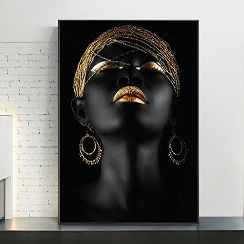 Canvas Painting Gold and Black Modern Makeup Model African Woman Canvas Wall Art Paintings Fashion Girl Poster Prints for Living Room Home Decor Paintings 60 * 90cm
