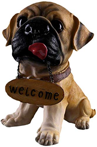 XiYou Statues Sculpture Artificial Animal Ornaments Garden Decoration Home Welcome Dogign French Bulldog Guest Greeter Patio for Home