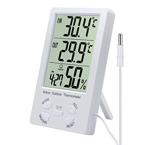 ESYNiC 2 in 1 LCD Termometro Igrometro Digitale per Interno Esterno Misuratore Temperatura C/F Max 50°C Tester Umidità Orologio con Supporto e Filo Sensore Sonda 1.5M