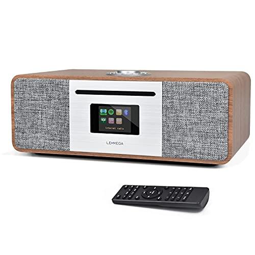 LEMEGA M4+ Connect CD Radio por Internet , Dispositivo Digital Dab/Dab+ ,Sintonizador de Radio FM con RDS , Spotify Connect , Reproductor CD , Bluetooth , AUX , USB , 30W, Pantalla TFT de 2,8