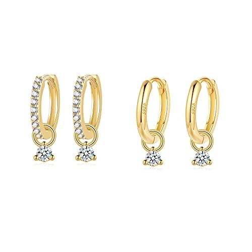 Creolen gold, Creolen mit Anhänger für Damen Herren Mädchen, Creolen Silber 925 Huggies(10mm) mit Zirkonia| Knorpel Tragus Schlafen Ohrringe