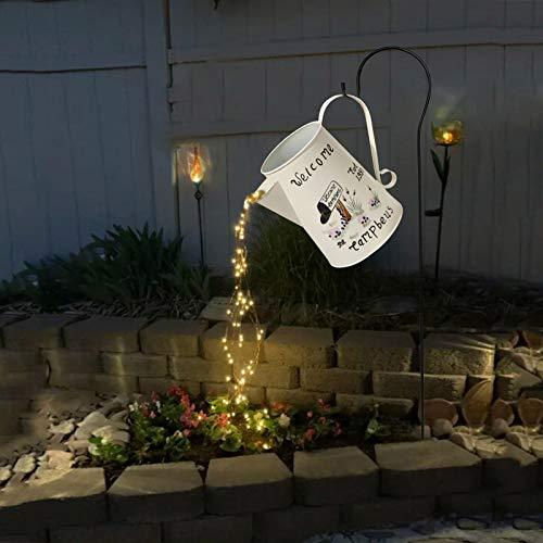Star Shower Garden Art Light Decoration - 35' Led Strands, Led Light, Watering Can Decor, Led Fairy Lights, Funny Art, Garden Sculptures & Statues, String Lights for Outdoors (A, with Bracket)