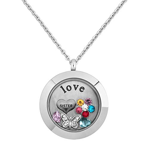Cory Keyes Living Memory Glass Locket Necklace with Love Sister Floating Charms (Sister-2)