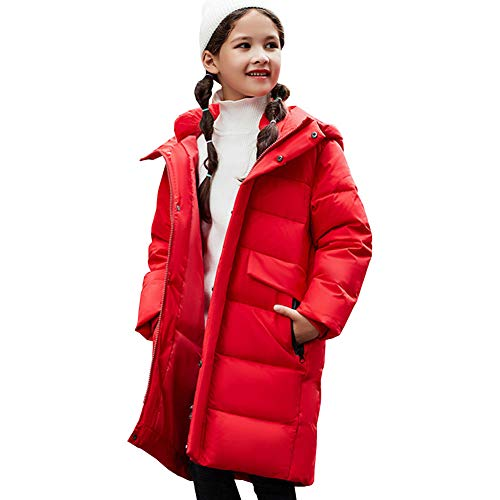 YFPICO Kinder Jungen Mädchen Daunenjacke Steppjacke mit Kapuze Lang Warm Verdickte Winterjacke Wintermantel Daunenmantel Parka Outdoor, Rot, 134/140 (Etikettengröße:140)