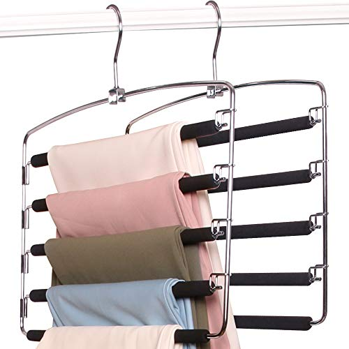 BEAUTLOHAS. Pants Hangers Space Saver Metal Stainless Slacks Hanger Foam Padded 5 Layers Non-Slip Swing Arms Closet Storage Organizer for Pants&Trousers&Jeans&Scarves&Skirts (2 Pack)