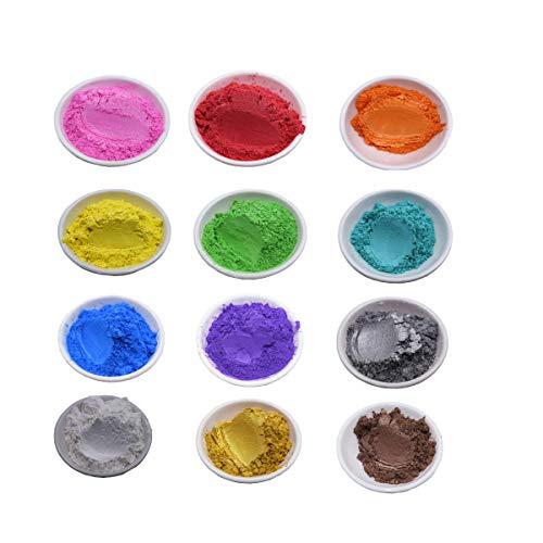 YASY 50 Pigmenti Coloranti per Resina Epossidica,Naturale Metallizzata Mica Perlato Polvere Pigmento per Slime Candele Rossetto DIY Sapone Pigmento di Resina (12 Colori, 5 g)