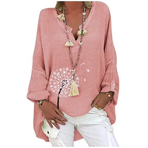 ZouYiL Oversized linnen blouse voor dames, elegante casual print, tops, V-hals, longshirt, basic, tuniek, losse lange top met madeliefje paardenbloem zonnebloem linnen hemd