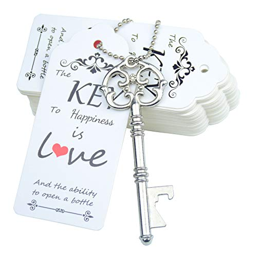 Aokbean 52pcs Vintage Skeleton Key Bottle Opener Party Favor Wedding Favor Guest Souvenir Gift Set with Escort Thank You Tag Card and Keychain (Antique Silver)