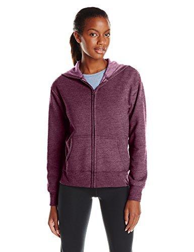 Hanes Women's EcoSmart Full-Zip Hoodie Sweatshirt, Plum Port Heather, Medium