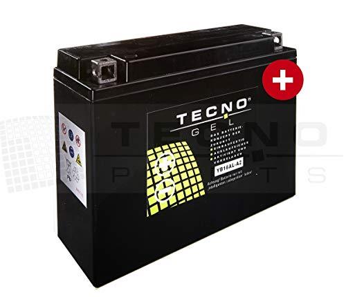 TECNO-GEL Motorrad-Batterie YB16AL-A2, 12V Gel-Batterie 16Ah, 205x70x162 mm inkl. Pfand