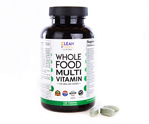 Whole Food Multivitamin for Men Women and Teens - Clean superfood Blend - Daily multivitamin with Organic Fruits Vegetables Herbs Omega Digestive Citrus Mushroom and probiotic Blends - Vegan