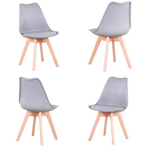 EGOONM Set di 4 sedie da Pranzo scandinave, sedie da Tulipano Imbottite retrò da Cucina/Sedia da Ufficio con Gambe in Legno massello di faggio (Grigio)