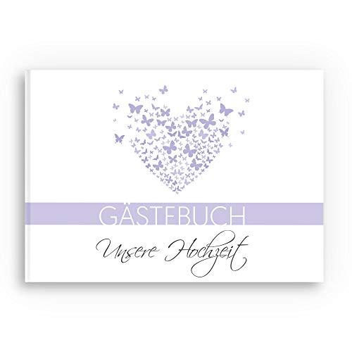 bigdaygraphix Gästebuch Hochzeit Hochzeitsbuch mit Fragen A4 quer Schmetterling Flieder