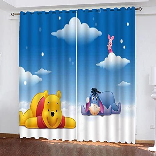 Bfrdollf Winnie The Pooh - Cortina opaca impermeable para habitación infantil, ojales superiores para cortinas, impresión digital 3D, 100% poliéster (280 x 180 x 13)