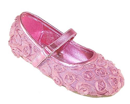 Sparkle Club The Filles Enfant Rose Flower Girl de fête et Speci Occasion Ballerine Chaussures, Rose, 22 EU (étiquette 5)