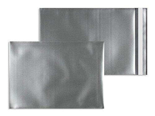 Farbige Folienumschläge | Premium | 114 x 162 mm (DIN C6) Silber (100 Stück) mit Abziehstreifen | Briefhüllen, Kuverts, Couverts, Umschläge mit 2 Jahren Zufriedenheitsgarantie