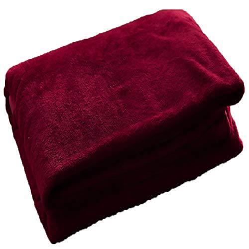 Winter Decke Fleece Solid Warm Halten Weich Für Bett Couch (Red,200x230cm)