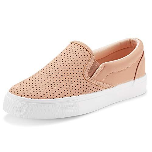 JENN ARDOR Women's Fashion Sneakers Perforated Slip on Flats Comfortable Walking Casual Shoes (10, Pink)