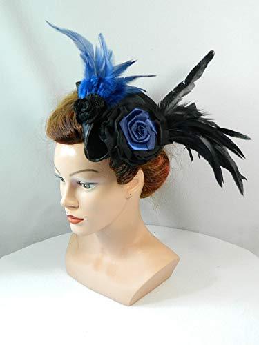 Mini Dreispitz schwarz blau Marie Antoinette Barock Rokoko Western Headpiece Haarschmuck Dirndl...