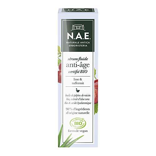 N.A.E. - Sérum Fluide Anti-Âge Visage - Huile de Pépins de raisin, Aloé Vera, Acide Hyaluronique - Certifié Bio - Formule Vegan - 98 % d'ingrédients d'origine naturelle - Contenant de 30 ml