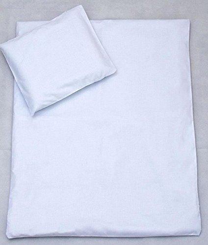 2 PC bébé Parure de lit avec taie d'oreiller Parure de lit de remplissage pour berceau, Berceau, Landau – Blanc uni