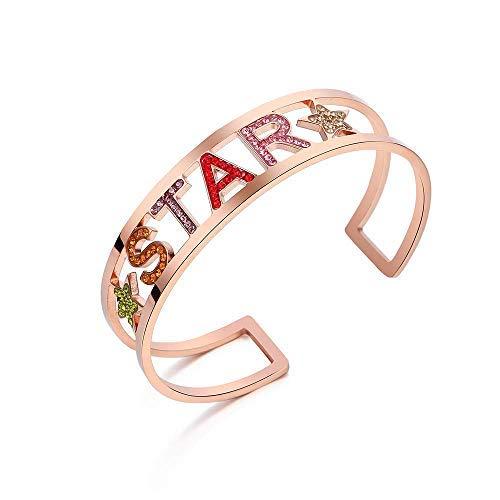 Emma Gioielli - Pulsera para mujer rígida de acero de alta calidad Oro rosa estrella estrella estrella con cristales Swarovski Elements multicolor moda – Paquete de regalo