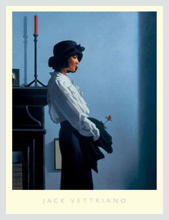 Germanposters Jack Vettriano Valentine Rose Poster Kunstdruck Bild mit Alu Rahmen in Silber matt