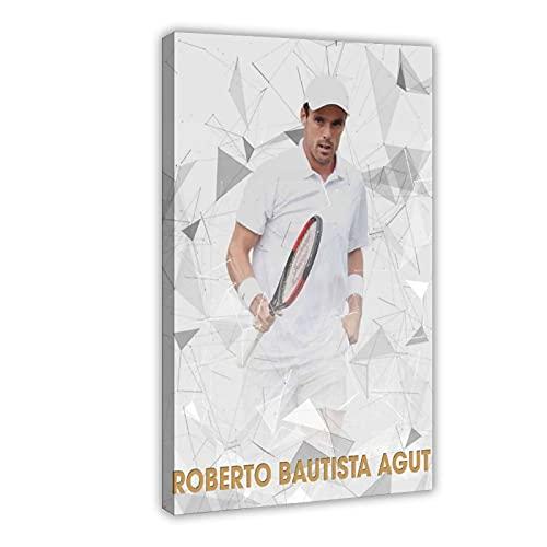 Poster su tela da parete Roberto Bautista Agut HD con tennista Roberto Bautista Agut, decorazione da parete per soggiorno, camera da letto, cornice: 60 x 90 cm
