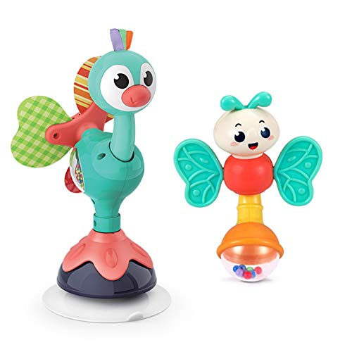 WFF Spielzeug Baby Lernspielzeug Rattle Feeding Artifact for kleine Kinder über 3 Monate zu Essen Esstisch Dining Chair Sucker Spielzeug (Color : Peacock+Dragonfly)