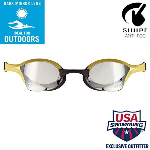 arena Cobra Ultra Swim Goggles, Silver / Gold, Swipe Anti-Fog Mirror (NEW)