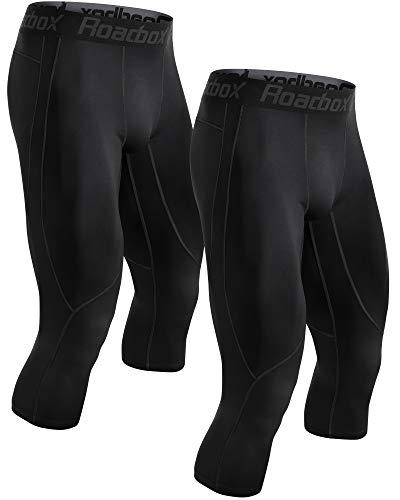 Roadbox Men's Compression Pants 3/4 Baselayer 2pack Dry Cool Running...