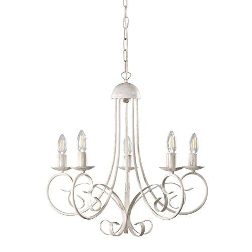 ONLI Pompei - Lampadario 5 luci, stile classico ed elegante. Struttura in metallo. Bianco