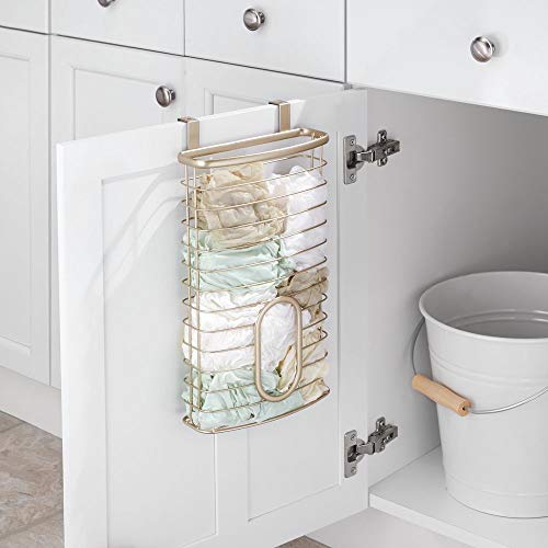 mDesign Metal Over Cabinet Kitchen Storage Organizer Holder or Basket - Hang Over Cabinet Doors in Kitchen/Pantry - Holds up to 50 Plastic Shopping Bags - Pearl Champagne