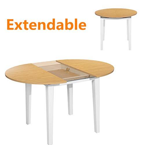 HOMYCASA Mesa de comedor redonda extensible con diseño de hojas de mariposa, patas gruesas, estable, mesa de cocina moderna de madera, 90 x 90 x 120 x 75 cm