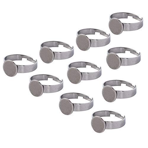 PandaHall 10pcs 304 Edelstahl Einstellbare Fingerringbasen Fassungen für Cabochon Runde Fingerringschalen für DIY Ring Making