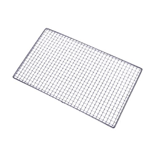 Grill Mesh Mat Stainless Steel Silver Barbecue Grill Grates Replacement Grill Grids Mesh Wire Net Outdoor Cook Party Use on Gas Charcoal Electric Barbecue and More 50x35 cm