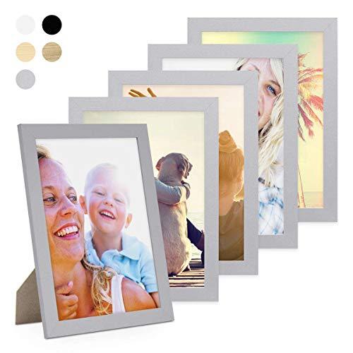 PHOTOLINI 5er Bilderrahmen-Set 21x30 cm/DIN A4 Basic Collection, Modern, Silber, aus MDF, inklusive Zubehör/Bilderrahmen-Collage