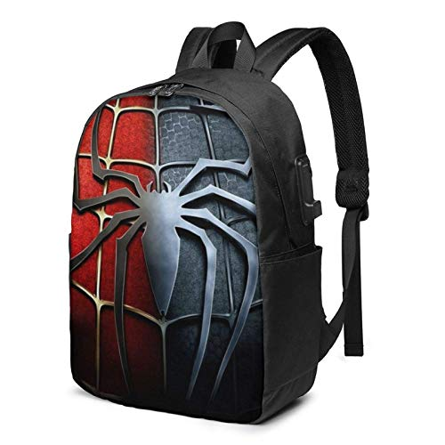 AOOEDM USB Backpack 17 in S-Piderman Laptop Backpack- with USB Charging Port/Stylish Casual Waterproof Backpacks Fits Most 17/15.6 Inch Laptops and Tablets/for Work Travel School