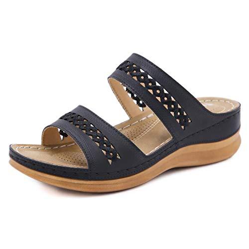 Yhjmdp Sandalias para Mujer, Sandalias De Tacón Bajo, Zapatos De Stripper con Plataforma para Graduación black-38
