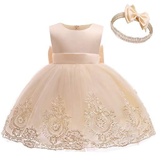Julhold Vestido de encaje para niña con lazo, tutú, vestido de fiesta con gorro