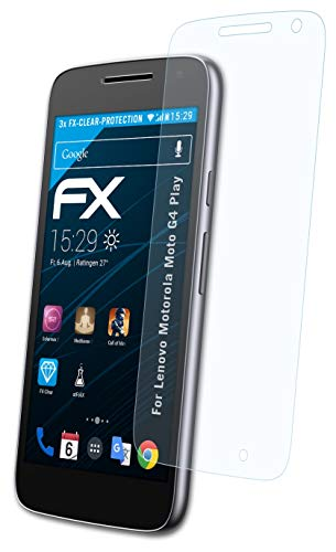 atFolix Schutzfolie kompatibel mit Lenovo Motorola Moto G4 Play Folie, ultraklare FX Bildschirmschutzfolie (3X)