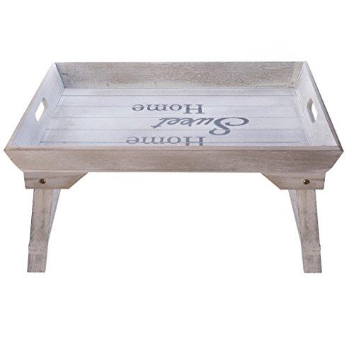 Elbmöbel Plateau de lit en bois 48 x 33 x 25 cm Plateau pour petit déjeuner au lit pour 2 personnes avec pieds pliables, naturel