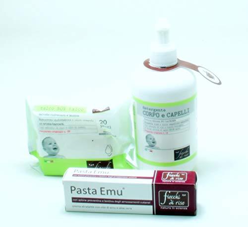Offerta Fiocchi Di Riso Detergente Corpo e Capelli Talco+Pasta Emu+Salviettine Talco Non Talco