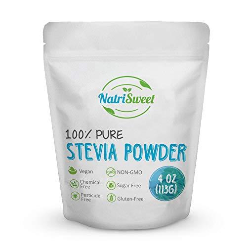 NatriSweet 100% Pure Stevia Powder 4 oz (113g), Zero Calorie All Natural Sweetener, Sugar Substitute, No Carbohydrates, No Artificial Sweeteners, No Fillers or Binders, Vegan